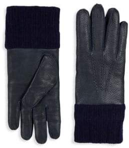 Saks Fifth Avenue Textured Leather & Wool Gloves