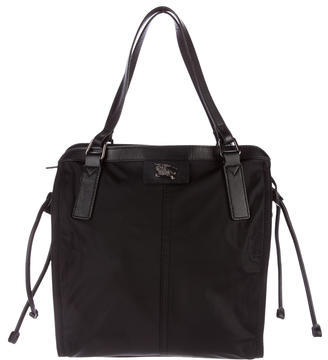 Burberry Burberry Leather-Trimmed Nylon Tote