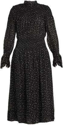 Rebecca Taylor Smocked star-print silk and cotton-blend dress
