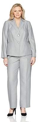 Le Suit Women's Plus Size Stripe 2 Button Notch Lapel Pant Suit