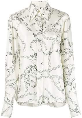 Victoria Beckham textured chain print shirt