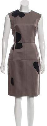 Lanvin Polka Dot Print Sheath Dress Grey Polka Dot Print Sheath Dress