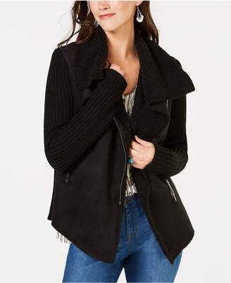 Style&Co. Style & Co Faux-Shearling Draped-Front Jacket