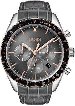 HUGO BOSS BOSS Men's Chronograph Trophy Gray Leather Strap Watch 44mm
