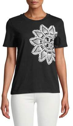Tory Burch Lace-Placed Print Tee