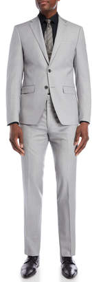 Calvin Klein Two-Piece Light Grey Sharkskin Slim Fit Suit