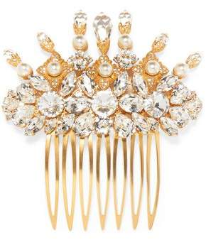 Dolce & Gabbana Gold-Tone Swarovski Crystal And Faux Pearl Hair Slide