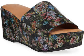 Gentle Souls Forella Floral Wedge Platform Slide Sandals