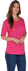 Quacker Factory Rhinestone Lattice Elbow SleeveKnit T-Shirt