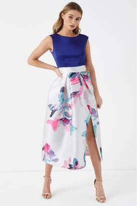 Closet Womens 2-in-1 Floral Wrap Skater Dress - Blue