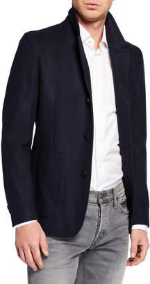 Neiman Marcus Men's Wool-Blend Jacket w/ Zip-Out Bib