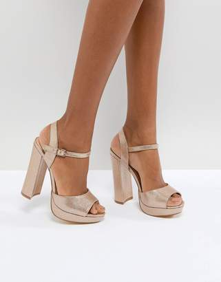 Office Hunk Rose Gold Sparkle Platform Sandals