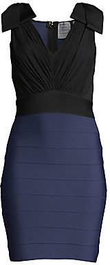 Herve Leger Women's Fringe Bodice V-Neck Cocktail Dress