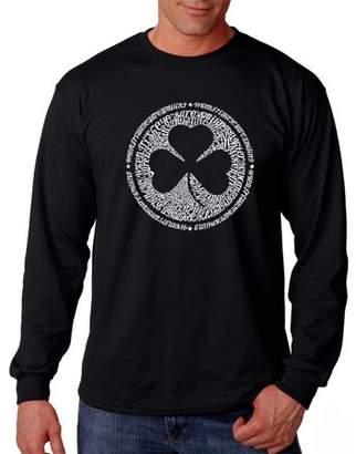 Pop Culture Los Angeles Pop Art Big Men's Long Sleeve T-Shirt - Lyrics To When Irish Eyes Are Smiling