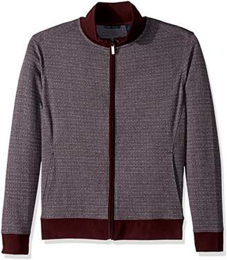 Perry Ellis Men's Big and Tall Cotton Blend Jacquard Full Zip Knit