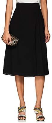 Lanvin Women's Pleated Wool Crepe Midi-Skirt - Black