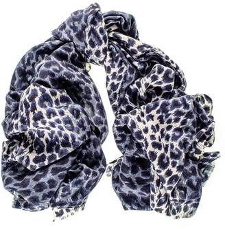 Black Navy Leopard Print Silk and Merino Wool Scarf