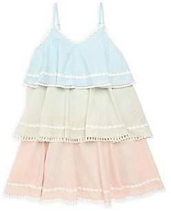 HEMANT AND NANDITA Little Girl's & Girl's Cotton Linen Tiered Dress