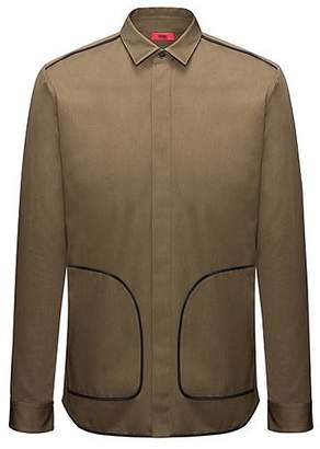 HUGO BOSS Relaxed-fit cotton shirt with contrast piping