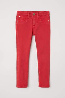 H&M Twill Pants Skinny Fit - Red