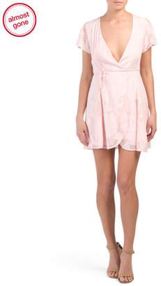 Juniors Wrap Babydoll Mini Dress