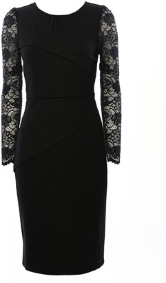 WallisWallis **Jolie Moi Black Lace Sleeve Bodycon Dress