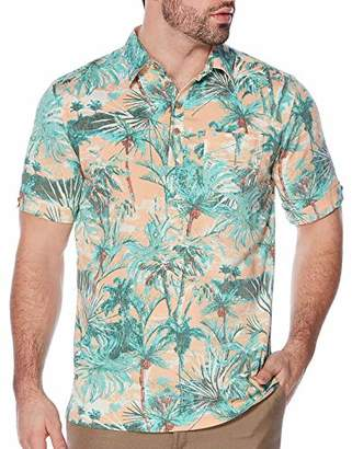 Cubavera Men's Short Sleeve Rayon-Stretch Tropical-Print Polo Shirt
