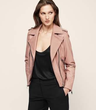 Reiss Marlowe Leather Biker Jacket