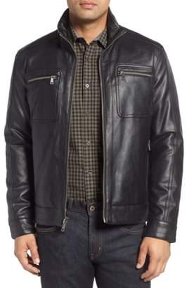 Cole Haan Faux Leather Zip Jacket