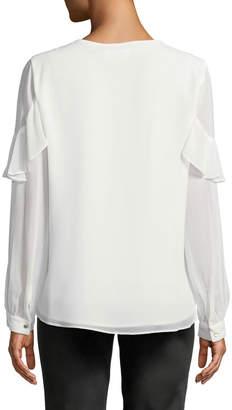 Iconic American Designer V-Neck Ruffle-Sleeve Blouse