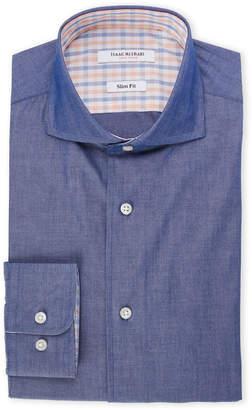 Isaac Mizrahi Navy Slim Fit Chambray Dress Shirt