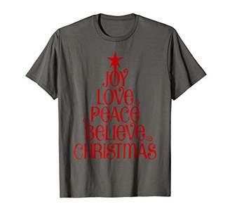 Joy Love Peace Believe Christmas Tree T-shirt