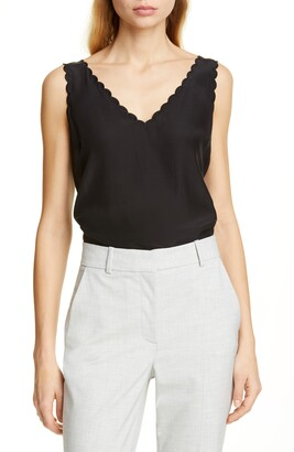 Rebecca Taylor Tailored by Scallop Detail Silk Charmeuse Tank Top