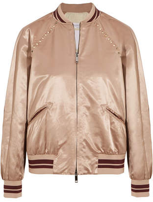 Valentino The Rockstud Embellished Satin Bomber Jacket - Blush