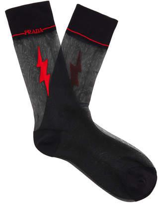Prada Jacquard-Knit Tulle Socks