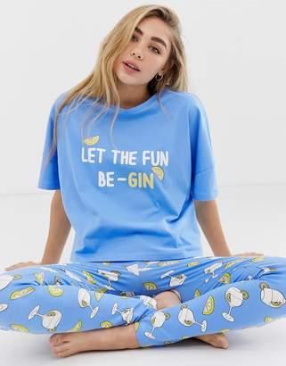 Asos DESIGN let the fun be-gin tee & legging set