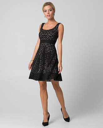 Le Château Laser Cut Knit Scoop Neck Dress