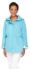 Dennis Basso Water Resistant Anorak Jacket withDetachable Hood