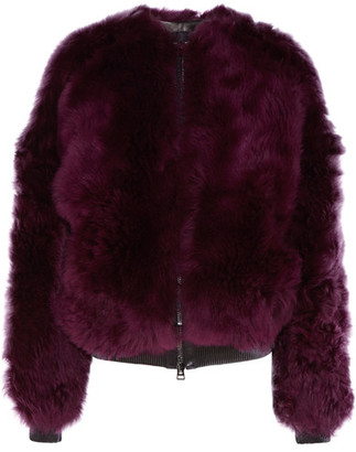 Leather-trimmed Shearling Bomber Jacket - Purple
