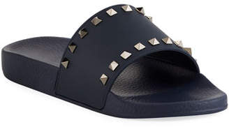 Valentino Men's Rockstud Vinyl Pool Slide Sandals