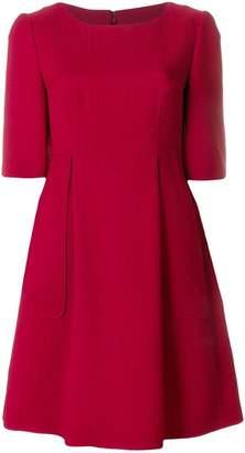 Talbot Runhof flared short-sleeved dress