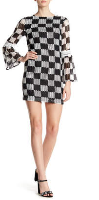 Nicole Miller Checkerboard Lace Bell Sleeve Dress