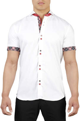 Maceoo Shaped-Fit Fresh-Square Double-Button Sport Shirt, White
