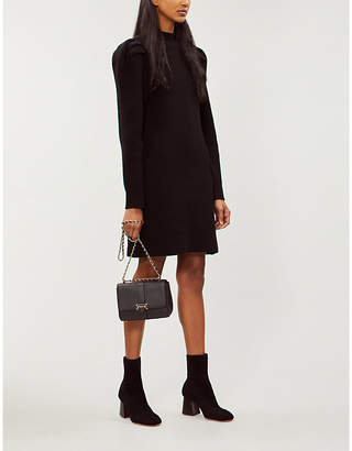 Sandro Puff-shoulder wool dress
