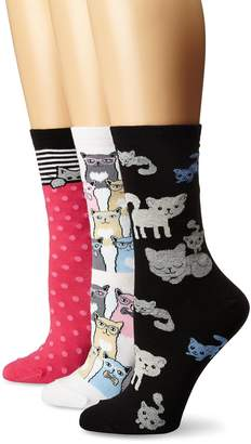 K. Bell Socks Women's Smarty Cats Crew Socks 3-Pack