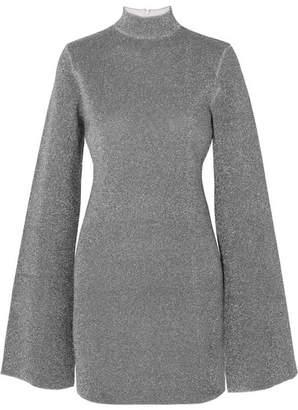 SOLACE London Alula Stretch-lurex Turtleneck Mini Dress - Silver