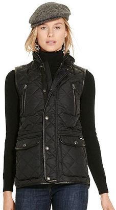 Polo Ralph Lauren Leather-Trim Quilted Vest $298 thestylecure.com