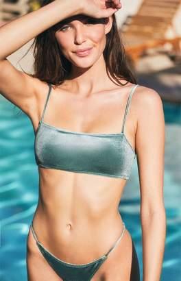 LA Hearts Velvet Cropped Bikini Top