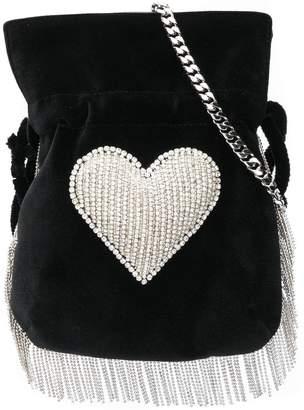 Les Petits Joueurs beaded heart embellished drawstring satchel