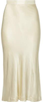 Kimberley Satin Midi Skirt - Cream